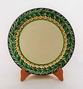 "Large Dinner Plate 12"" D Border Green-Blue Colors"