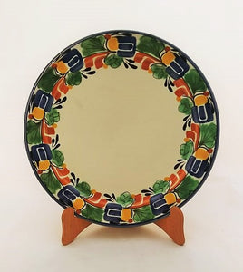 "Large Dinner Plate 12"" D Border Traditional in Blue-Green-Yellow Colors"