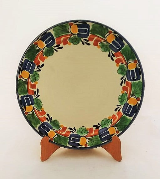 Large Dinner Plate 12 in Traditional Border in Colors