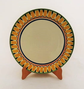 "Large Dinner Plate 12"" D Border Yellow-Blue Colors"