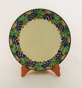 "Large Dinner Plate 12"" D Traditional Border in Blue-Green Colors"