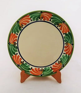 "Large Dinner Plate 12"" D Border in Green Red Colors"