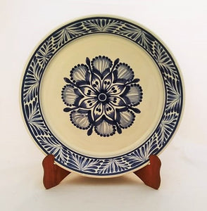 Flower Dinner Plate 10.2 in Blue and White