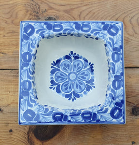 Flower Square Bowl Blue and White