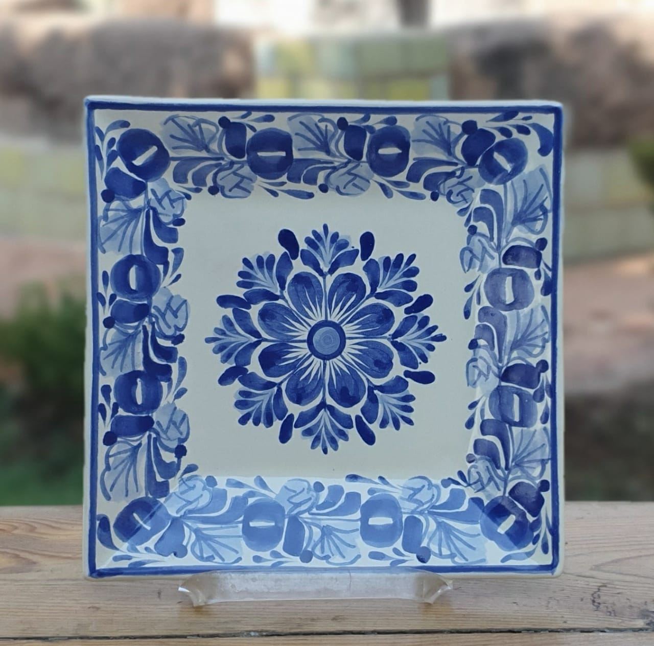 Flower Square Plate Blue and White