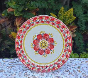 "Flower Charger Dinner Plate 12"" D Red Colors"