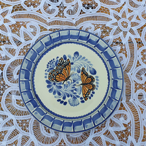 "Butterfly Charger Dinner Plate 12"" D Blue-Orange Colors"