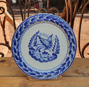 "Bird Charger Dinner Plate 12"" D Blue and White"