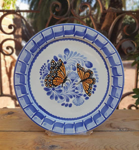 "Butterfly Salad Plate 8.7"" D Blue-Orange Colors"