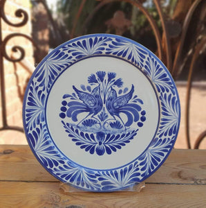 "Love Birds Charger Dinner Plate 12"" D Blue and White"