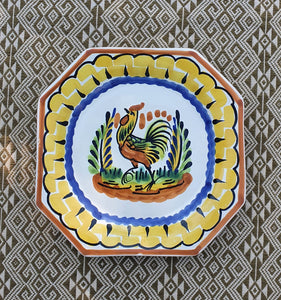 "Rooster Mini Octagonal Plate 6.7 X 6.7"" Multicolor"
