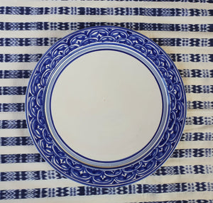 "Charger Dinner Plate 12"" D Blue and White"