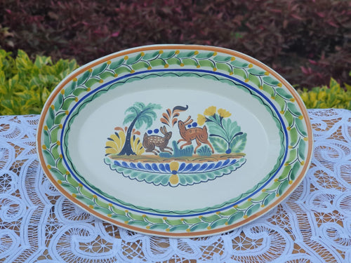 Rabbit Serving Oval Platter 10.6in W  X 15in L  X 2.4in H Multicolor