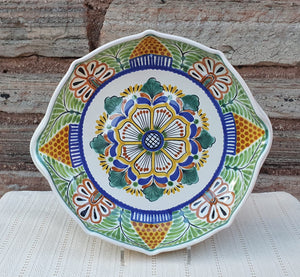 "Flower Serving Octagonal Platter 14"" D MultiColors"
