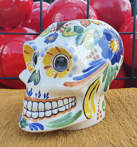 "Gorky Ceramic Skull / Decorative Catrina 6"" Height Multicolors"