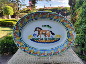 "Horse Decorative / Serving Oval Platter 17.3 x 21.6"" Multicolor"