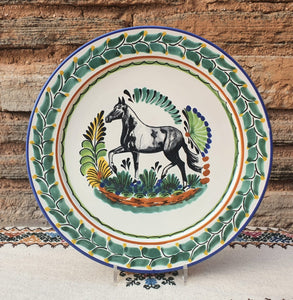 "Horse Decorative / Serving Flat Platter 13.8"" D Multicolor"