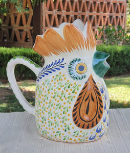 "Rooster Water Pitcher 10"" Height Multicolor"