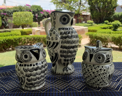 Owl Set of 3 Black and White