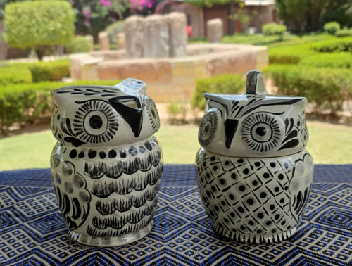 Owl Sugar & Creamer Set of 2 Black and White