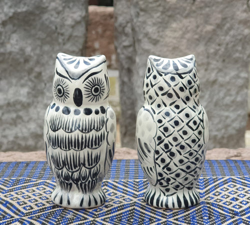 Owl Salt and Pepper Shaker Set of 2 Black and White