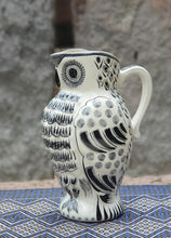 "Owl Water Pitcher 9"" Height 40 Oz Black and Whited"