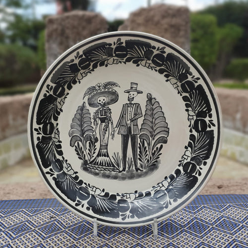 Catrina Couple Decorative Deep Round Platter 13.8