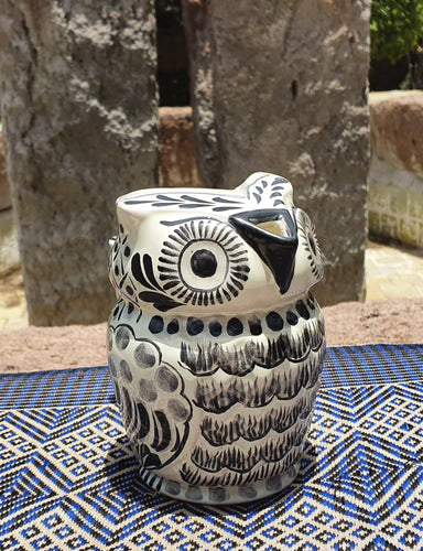 Owl Creamer Pitcher 13 Oz Black and White