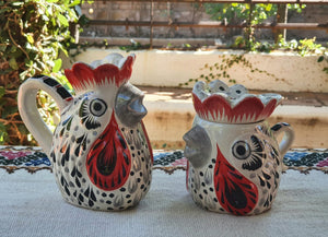 Rooster Sugar & Creamer Set of 2 Black and Red