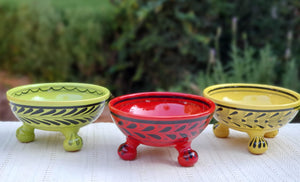 Footed Bowls Set of 3 Multi-colors