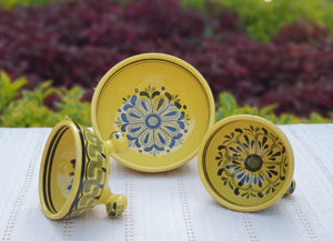 Footed Bowls Set of 3 Yellow Colors