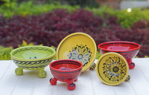 Footed Bowls Set of 5 Multicolors