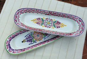 "Flower Oval Long Plate 17.3*5.5"" Set of 2 Multicolors"