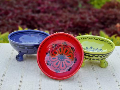 Footed Bowls Set of 3 Multicolors