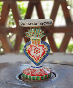 "Sacred Heart 4.5"" Candle holder 7.7"" H Multicolors"
