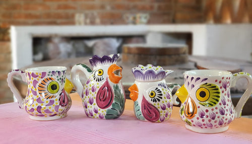Rooster Set of 4 Purple Colors (Sugar, Creamer, Coffee Mug)