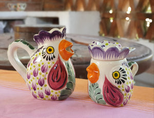 Rooster Sugar & Creamer Set of 2 Purple Colors