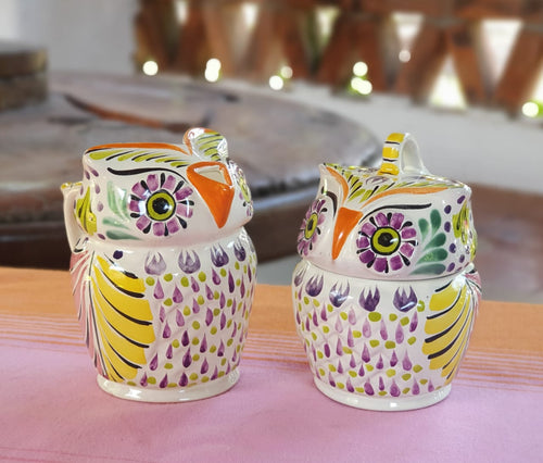 Owl Sugar & Creamer Set of 2 Purple Colors