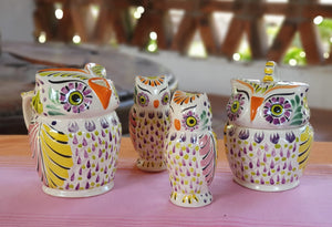 Owl Set of 4 Purple Colors (Sugar, Creamer, Salt & Pepper)