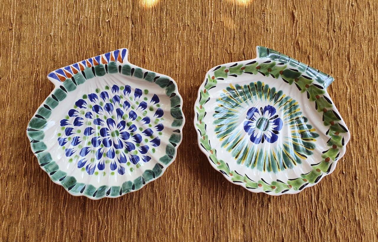 Shell Dish Plate 4.7*5 inches Multicolors Set (2 Pieces)