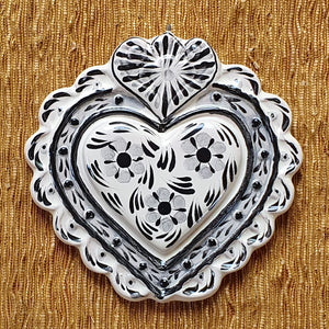 "Ornament Love Heart 5*5"" Black and White"