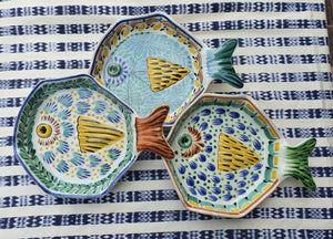 "Fish Plate w/tail 7.5*5.5"" Set of 3 Pieces Multicolors"