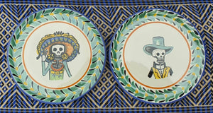 "Catrina Bread Plate / Tapa Plate 6.3"" D Multicolor Couple Set of (2 pieces)"