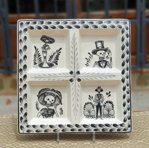 "Catrina Square Tray w/4 Division  12.4*12.4"" Black and White"