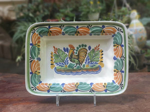 "Rooster Rectangular Bowl 11*7.9"" Multi-colors"