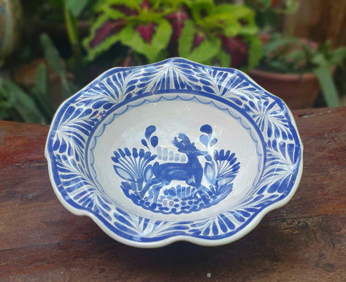 Deer Flouted Pasta Bowl Blue and White
