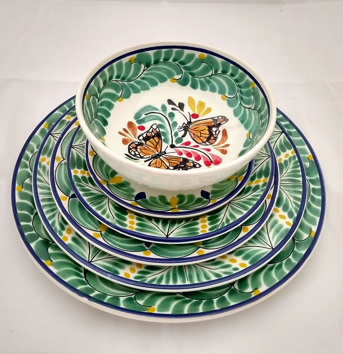 Butterfly Dish Set (6 pieces) One Service Green-Blue-Orange Colors