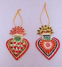 Ornament Sacred Heart Set of 2 Multi-colors