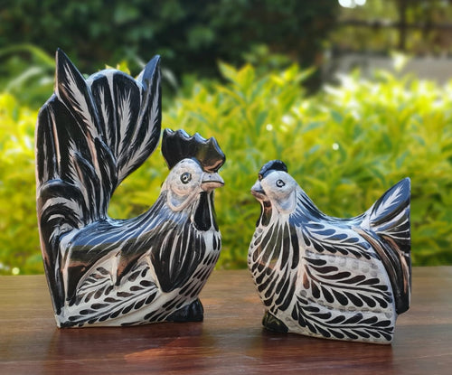 Rooster and Hen Decorative table Figure Black and White