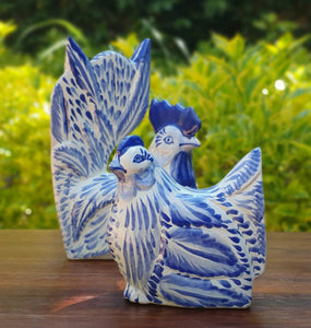 Rooster and Hen Decorative table Figure Blue and White